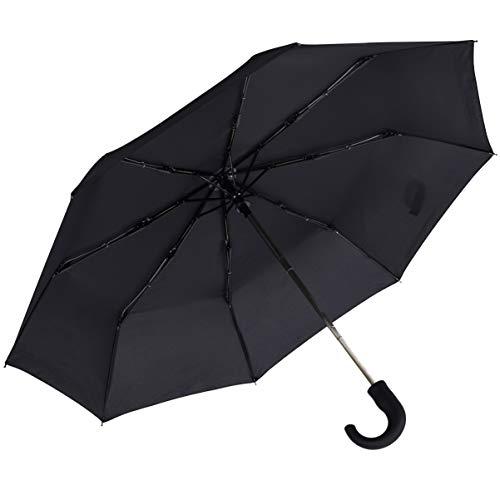 Rainbrace Ombrello da Uomo Nero Antivento Pieghevole, Automatico con Manico Curvo