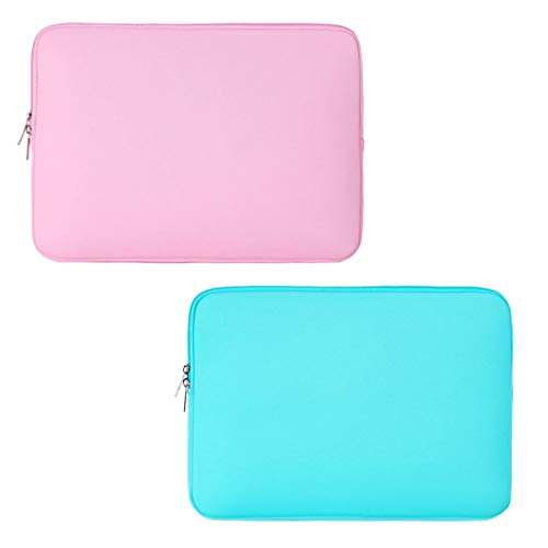 Fityle 2 peças de nylon universal macio forro de tablet bolsa bolsa de 28 cm rosa e verde