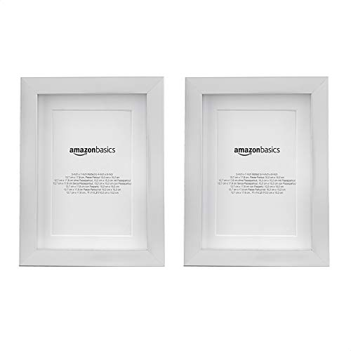 Amazon Basics – Marco para fotos con paspartú, 13 x 18cm con paspartú de 10 x 15 cm, Níquel, Pack de 2 uds