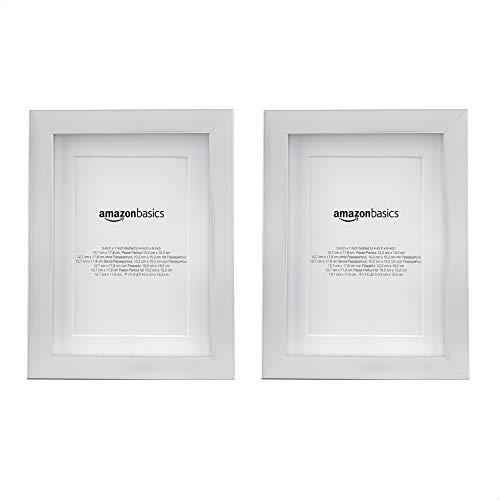 AmazonBasics - Fotorahmen mit Passepartout - 13 x 18 cm mit Passepartout bis 10 x 15 cm, Nickelfarben, 2 Stück