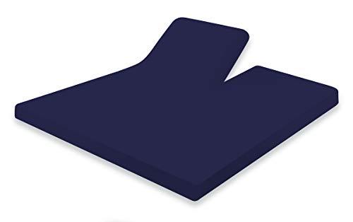 Splittopper Hoeslaken 180x210/220cm Donker Blauw Jersey Katoen Stretch Elegance - Hoeslaken Split Enkel - Single Split