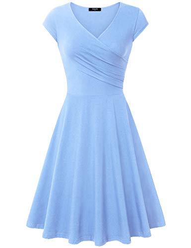 Lotusmile Elegant Dresses, Womens Casual Dress A Line Cap Sleeve V Neck Medium SkyBlue