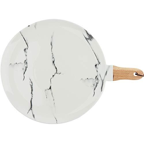 CHRYE-Teller Porzellanteller mit Griff, Marmorbeschaffenheit, Unterglasur, Gesund und Sicher, Geeignet for Pizza, Sushi, Brot, Weiß (8/10 Zoll Optional)