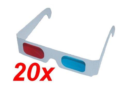 RBrothersTechnologie - Gafas 3D, 20 unidades, color azul y rojo