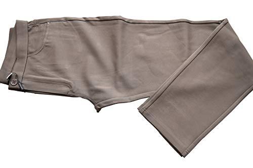 Youline - Pantalón Pitillo Mujer Punto Roma Liso | Tejido Ajustable 68% Seda 22% Poliamida 10% Elastan, Color Beige, Talla 44