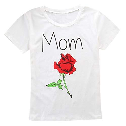 Berimaterry ❤️Parent-Enfant Chargé Maman Et Mon BéBé Fille Lettre à Manches Courtes Rose Imprimé VêTements à Manches Courtes Veste BéBé MèRe T-Shirt Tops Cute