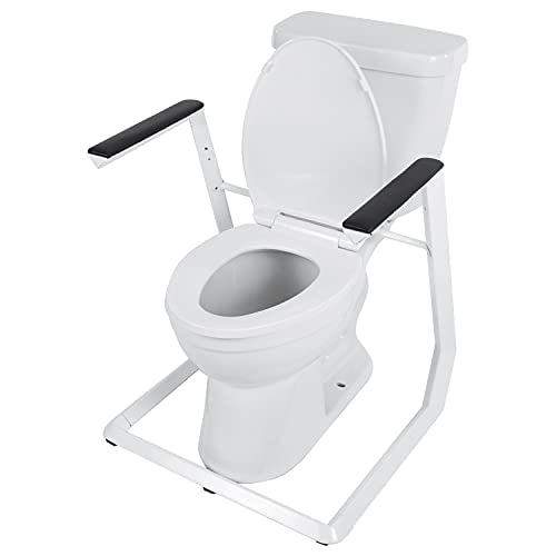 Vive Stand Alone Toilet Rail - Handicap Grab Bar - Disability aid for Seniors - Seat Riser with Handles - Medical Bathroom Assist - Padded Armrest - Safety Frame for Eldery - Standing Support Handrail