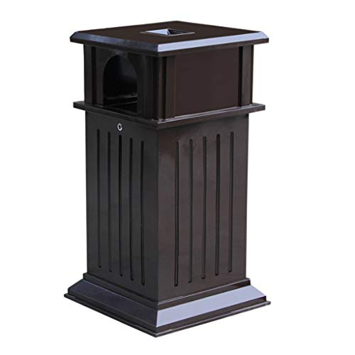 Sale!! Alvis Garbagebin Square Outdoor Trash Can Waste Bin for Patio Resin Outdoor Trash Hideaway wi...