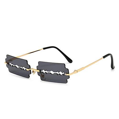 FRGH Gafas De Sol Punk Sin Montura Huecas Hombres Mujeres Retro Steampunk Rectángulo ModaSombras Cuadradas Uv400 Gafas Vintage