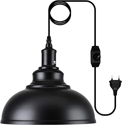 candelabro,lámpara colgante industrial para granero con cable de enchufe e interruptor de atenuación de encendido y apagado,lámpara de techo colgante vintage,para comedor,granja,con enchufe del