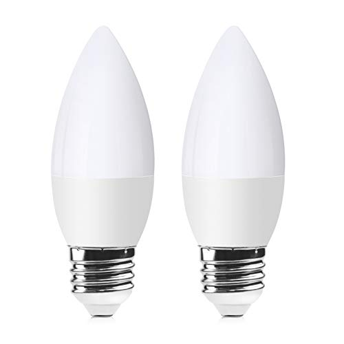 Doright Dusk to Dawn Smart LED Bulbs, 5W Light Sensor bulb E27 Base Cold White 6000K Edison screw ES Candle Bulbs 220V Auto On/Off 50W Incandescent Bulbs Equivalent for Courtyard Pathway 2-Pack