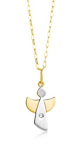 Miore Kette Damen 0.02 Ct Diamant Halskette mit Anhänger Engel Bicolor Gelbgold/Weißgold 9 Karat / 375 Gold Schmuck mit Diamant Brilliant 45 cm lang