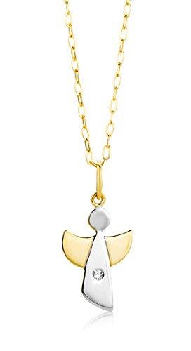Miore Necklace - Pendant Women Angel Bicolor -Yellow Gold and White Gold 9 Kt / 375 Diamonds Chain 45 cm