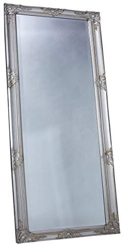LC Home Wandspiegel Spiegel Silber ca. 180 x 80 cm Antik Stil Barock mit Facettenschliff - XL Ankleidespiegel Ganzkörperspiegel Garderobenspiegel Holzrahmen