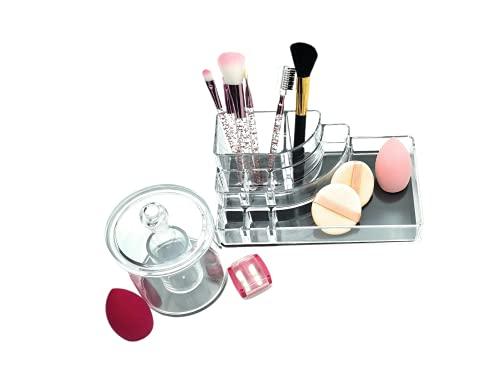Pack »14 EN 1 Organizador DE Maquillaje+ ESPONJAS Facial 4 Unidad+ 6 BROCHAS + 1 CONTENEDOR para Esponja Algodon+ 1 SACAPUNTA+ Pinzas DE Cejas 1 Uds. (Detalle Presente Original para Mujer 14 U