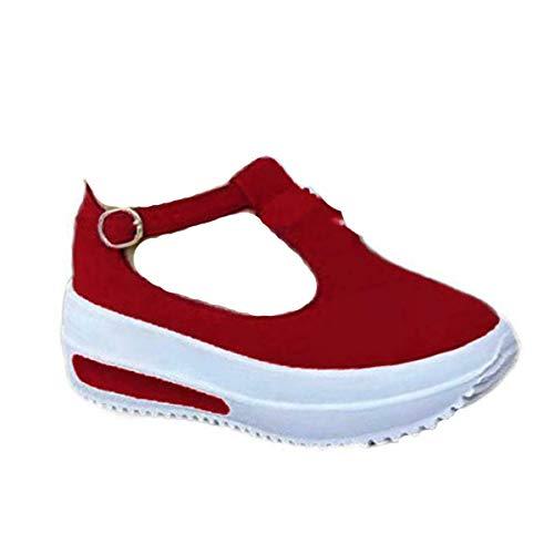 AMYGG Frauen Retro Einfarbig Runde Zehen Slipper Stiefel Casual Walking Schuhe Low Heel Runde Zehen Plattform Loafers Stiefel Einzelschuhe Schnalle 43 Rot