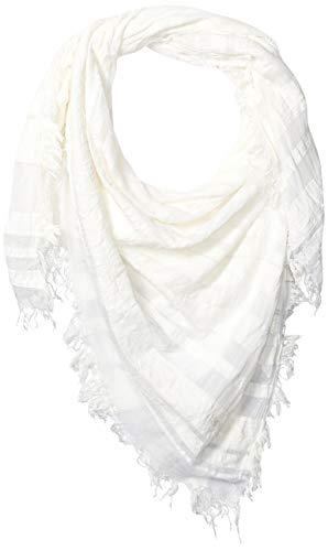 Emporio Armani Damen Striped Square Scarf with Fringe Detail Modischer Schal, Optical White, Einheitsgröße