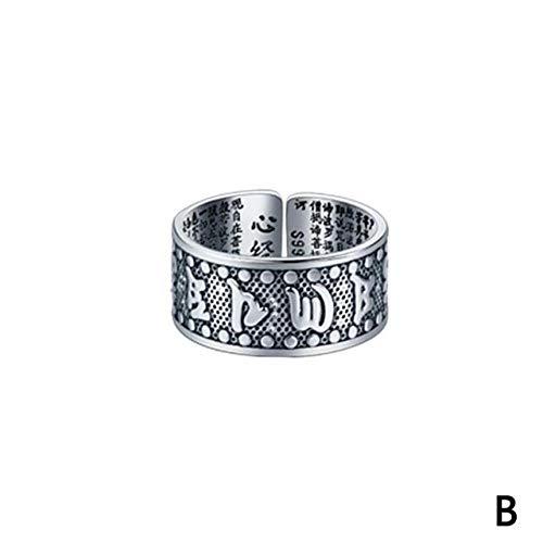 ZHANGJSechs Zeichen Damen Silber Ring Männer Feng Shui Amulett Glück Offen Einstellbaren Ring Buddhistischen Schmuck Geschenk, Veränderbar, Rot