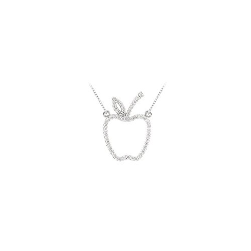 0.25 carat Cubic Zirconia Designer inspired Apple Necklace in Sterling Silver