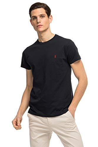 Camiseta Azul Marino de Manga Corta para Hombre