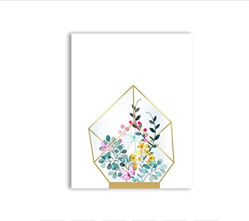 Zhaoyangeng Geometrische Terrarium Canvas Art Print en Poster Moderne Planter Botanische Bloemen Canvas Schilderij Wandfoto Art Decor 40X60 cm Geen Frame