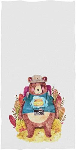 Lindo Oso Vestido de Dibujos Animados con Mochila con impresión Personalizada Toalla Toalla de Cara Suave Absorbente Hogar Cocina Baño Toalla de Invitados Blanco