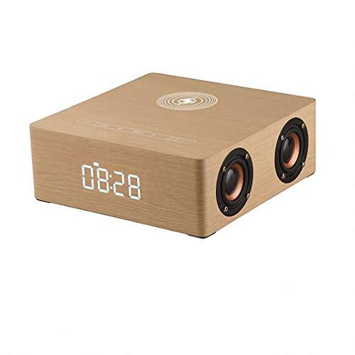 WYL luidspreker, draadloos, Bluetooth, bass stereo sound-systeem, 4 luidsprekers, 12 W, hoge prestaties, van hout, digitale wekker, Yellowwood