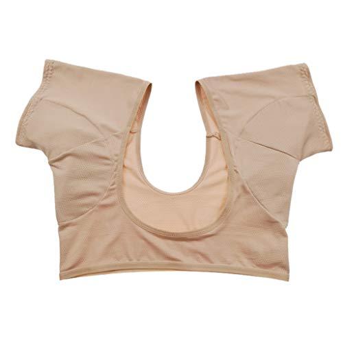 DENGHENG Kurzärmelige Unterwäscheweste mit Unterarm-Achselhöhle, schweißabsorbierende Pads, Sport, Laufen, waschbar, schützt vor Schweiß, bauchfreies Top
