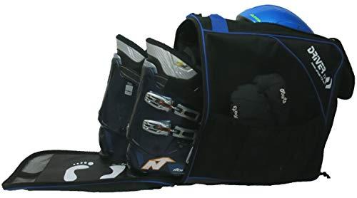 Driver13 ® Skischuhtasche Skistiefeltasche mit Helmfach für Hart Softboots Inliner und Bootbag Tasche schwarz-blau