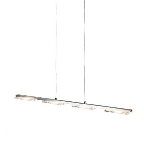 QAZQA - Modern Hängeleuchte Stahl   Silber   nickel matt und Kunststoff inkl. LED mit Dimmer - Vitro  4-flammig Touch-funktion Dimmer   Dimmbar   Wohnzimmer   Schlafzimmer   Küche - Stahl Länglich -  