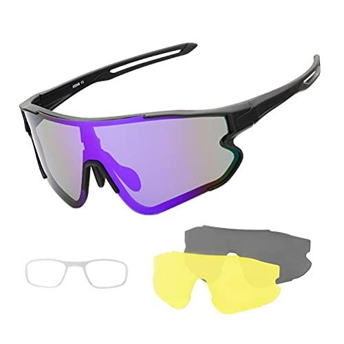 Terzsl Gafas de sol deportivas para ciclismo, antirrayos ultravioleta, para hombre, mujer, con lentes intercambiables para correr, béisbol, golf, etc.