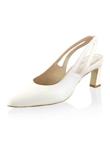 Alba Moda Slingpumps aus hochwertigem Ziegennappaleder Off-White