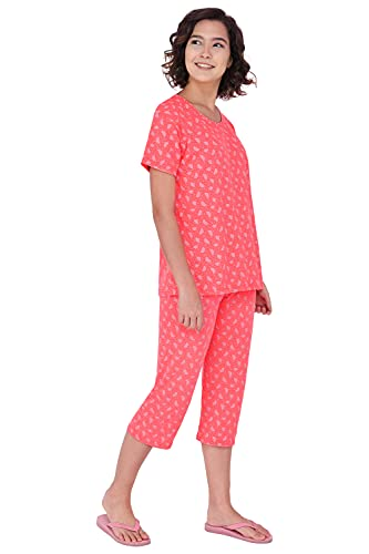 Fflirtygo Night Suit Set for Women Cotton, Night Dress, Lounge Wear – Printed Pure Cotton – Top and Capri Set for Women, Orange Color Printed Top and 3/4th Pyjama Set for Women Nightwear