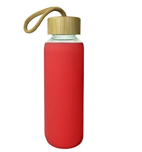 Wenburg Cantimplora Botella de Cristal con Tapa de bambú 550 ml, Cubierta de Silicona. Botella Deportiva/Botella de Agua de Vidrio. para Llevar. para té, Agua, Batidos (Rojo, 0,5 l)