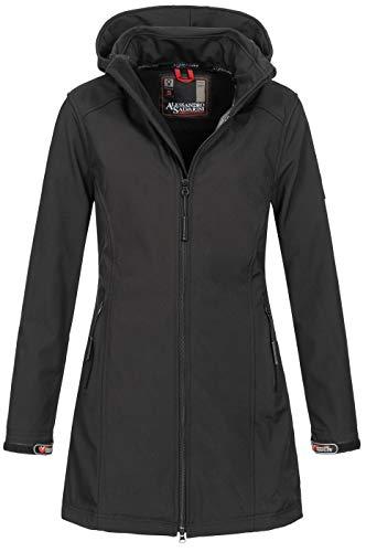 A. Salvarini Damen Softshell Jacke wasserabweisend Outdoor lang AS-131 [AS-131-Schwarz-Gr.4XL]