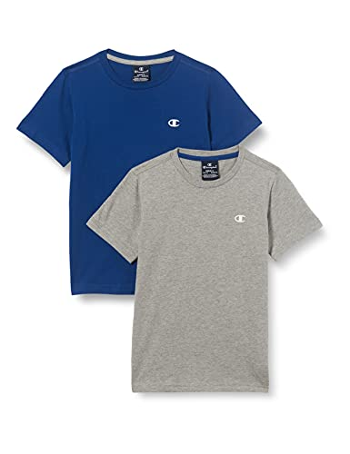 Champion Legacy Classic C-Logo T-Shirt, Grigio Melange Chiaro & Blu, 13-14 Anni (Pacco da 2) Bambino