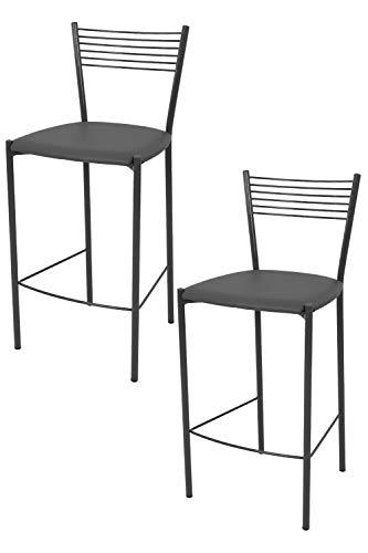 Tommychairs - Set 2 sgabelli alti modello Elegance per cucina e bar, struttura in acciaio verniciata colore grigio scuro e seduta imbottita e rivestita in pelle artificiale colore grigio scuro