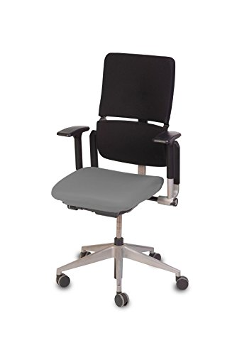 TexDeko Bezug für Bürosessel, Chefsessel,Husse für Bürodrehstuhl, Überzug für Bürostuhlsitzfläche, Sitzbezug (Grau)