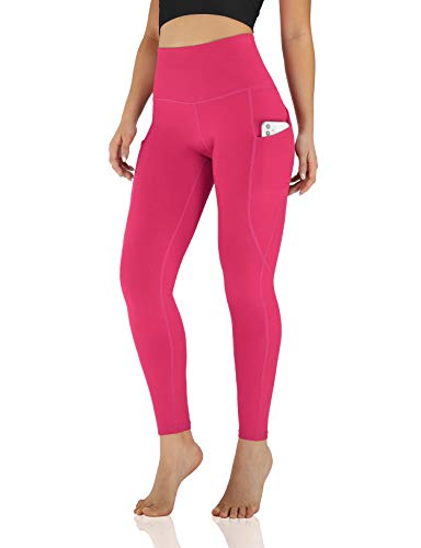 ODODOS Women's High Waisted Yoga Pants with Pockets,Tummy Control Non See Through Workout Sports Running Leggings, Full-Length, Plus Size, Fuchsia,XX-Large