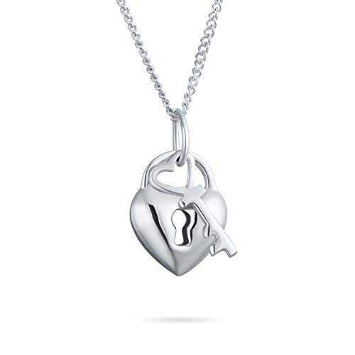 Simple 2 Charm Love Lock And Key Heart Pendant Necklace For Women For Teen 925 Sterling Silver 16 Inch