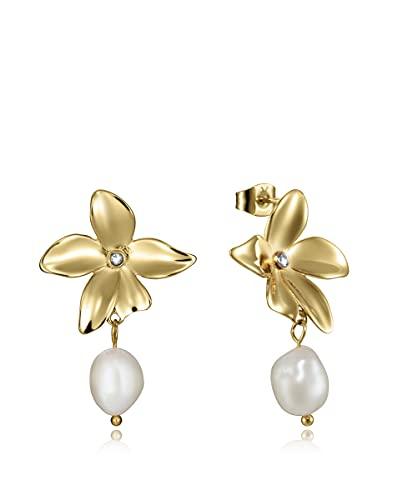Pendientes Viceroy Colección Chic con IP dorado en forma de flor con perla cualtivada de río colgando