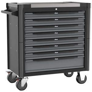 VIGOR Werkstattwagen mit Edelstahl-Arbeitsplatte, inkl. Sortiment (499teilig, 8 Schubladen mit je...