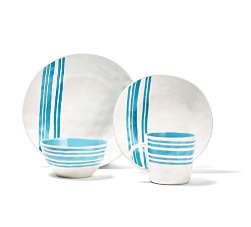 American Atelier Bistro 16 Piece Round Dinnerware Set, Teal, 12x12