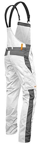 strongAnt® - Malerhose Männer Arbeits-Latzhose mit Kniepolstertaschen Berlin Kombi-Hose - Made in EU - Größe: 94, Farbe: Weiß-Grau