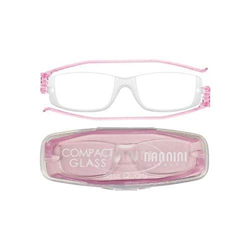 老眼鏡 コンパクトグラス2 nannini リーディンググラス 男性用 女性用 メンズ レディース シニアグラス 全12色(+2.50,ローズクオーツ)