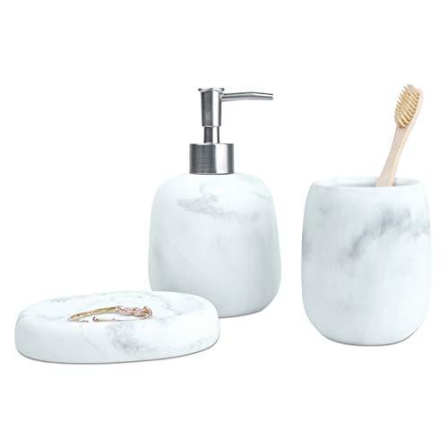 Set di accessori da bagno in marmo con dispenser di sapone, bicchiere porta spazzolino, portasapone, portasapone, idea regalo