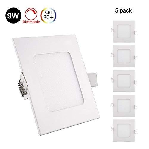 5er Greenclick 9W LED Panel Weiß Eckig Deckenleuchte Dimmbar Einbaustrahler, extrem flach,220V 720Lumen ersetzt 60W Leuchtstoffröhren LED Deckenleuc (3000k, 9w Eckig Panel)