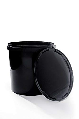 Seau avec couvercle - Noir - En plastique - Qualité supérieure - Avec anse