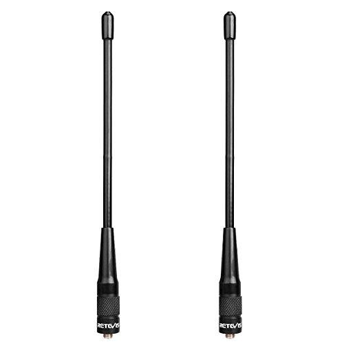 Retevis RHD701 Walkie Talkie Antena SMA-F Doble Banda VHF/UHF Alta Ganancia Antena Compatible con Walkie Talkie RT5R RT5 RT5RV RT7 RT21 H777 Baofeng BF-888s UV-5R UV-5RA UV-5RB UV-5RC (2 Pacs)