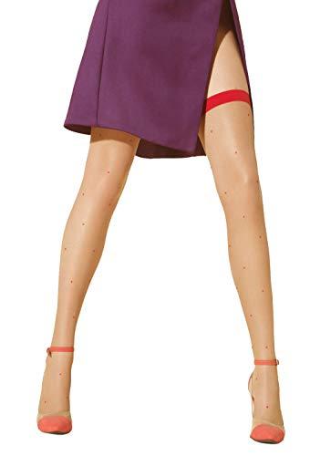 Marilyn freche leicht gepunktete halterlose Strümpfe mit farbigen Absatz im Strumpfbandlook, 20 Denier, Größe 40/42 (M/L), Farbe Beige (visone & pink)